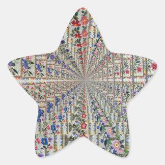 Sticker Étoile Oiseaux et fleurs de motif de broderie