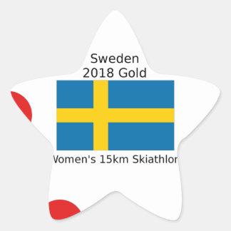 Sticker Étoile Or 2018 de la Suède - 15km Skiathlon des femmes