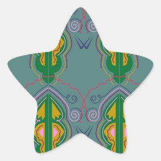 Sticker Étoile Ornements de luxe vert-bleu