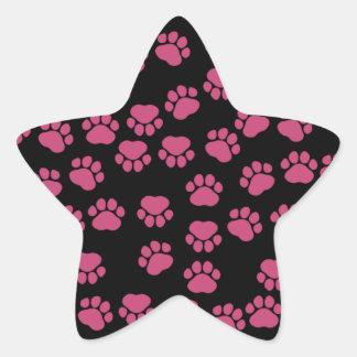 Sticker Étoile Pattes de chien, traces, empreintes de pattes -