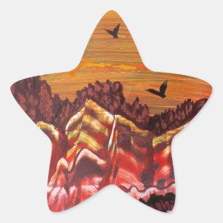 Sticker Étoile Paysage du volcan de tabagisme