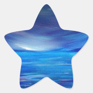 Sticker Étoile Paysage marin abstrait de bleu et de pourpre