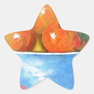 Sticker Étoile Pêches dans une cuvette bleue
