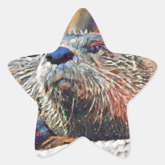 Sticker Étoile Peinture à l'huile de Digitals de loutre de