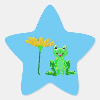 Sticker Étoile petite grenouille et fleur jaune