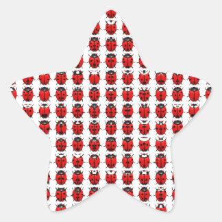 Sticker Étoile Petites coccinelles rouges