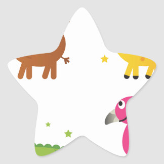 Sticker Étoile Petits animaux mignons sur le blanc/T-shirts