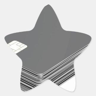 Sticker Étoile Pile avec les cartes en plastique vierges avec la