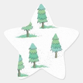 Sticker Étoile pines winter plus forest