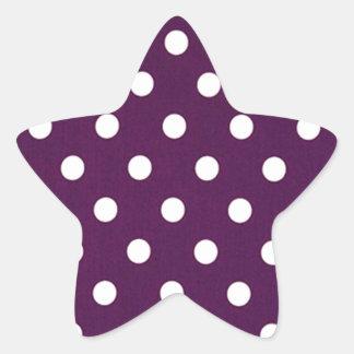 Sticker Étoile Pois blanc sur le pourpre foncé