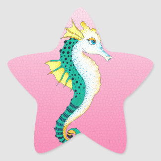 Sticker Étoile rose turquoise d'hippocampe
