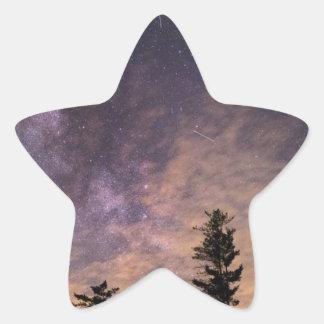 Sticker Étoile Silhouette des arbres la nuit