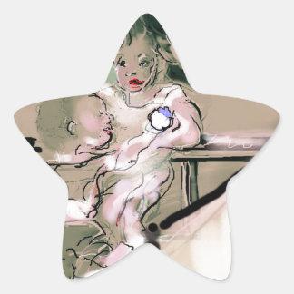Sticker Étoile Style de cru de crochet de huche