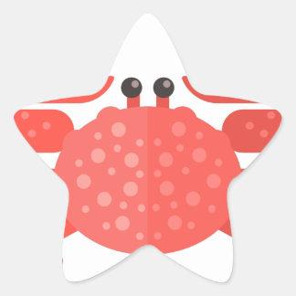Sticker Étoile Style rose de primitif de crabe