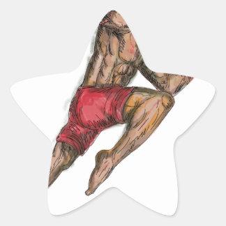 Sticker Étoile Tatouage thaïlandais de combattant de boxe de Muay