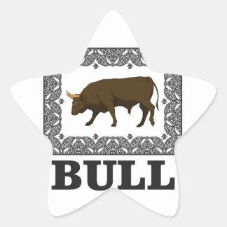 Sticker Étoile taureau brun encadré
