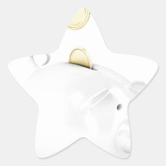 Sticker Étoile Tirelire avec les pièces de monnaie d'or