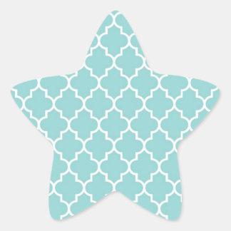 Sticker Étoile Treillis marocain, treillage - blanc bleu