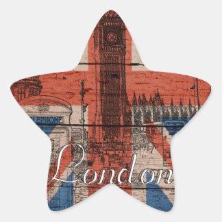 Sticker Étoile Vieux drapeau en bois à la mode frais