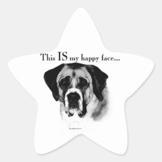 Sticker Étoile Visage heureux de St Bernard