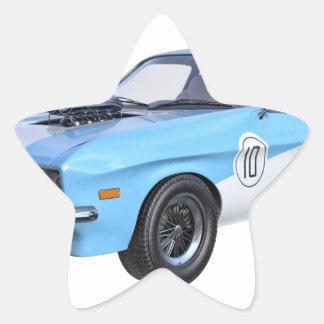 Sticker Étoile voiture de muscle des années 70 dans bleu et blanc