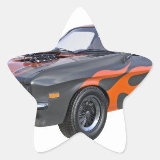 Sticker Étoile voiture de muscle des années 70 dans les flammes