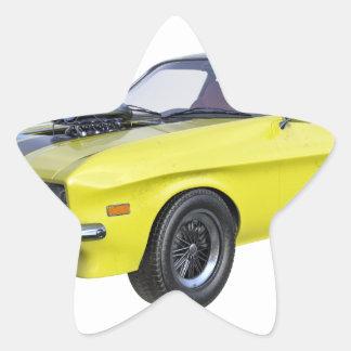 Sticker Étoile voiture de muscle des années 70 en jaune et noir