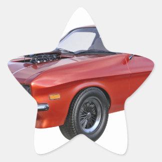 Sticker Étoile voiture de muscle des années 70 en rouge