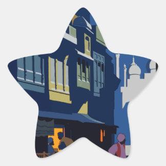 Sticker Étoile Voyage vintage Inde une rue par clair de lune