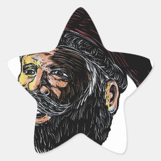 Sticker Étoile Vue de trois quarts Scratchboard du père noël