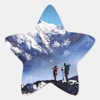 Sticker Étoile Vue panoramique de montagne maximale d'Ama Dablam