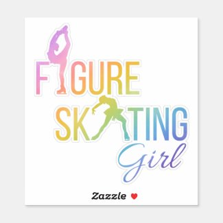 Sticker figure skating girl custom-cut rainbow