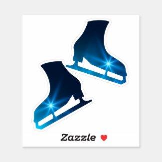 Sticker ice skates pair figure blue star