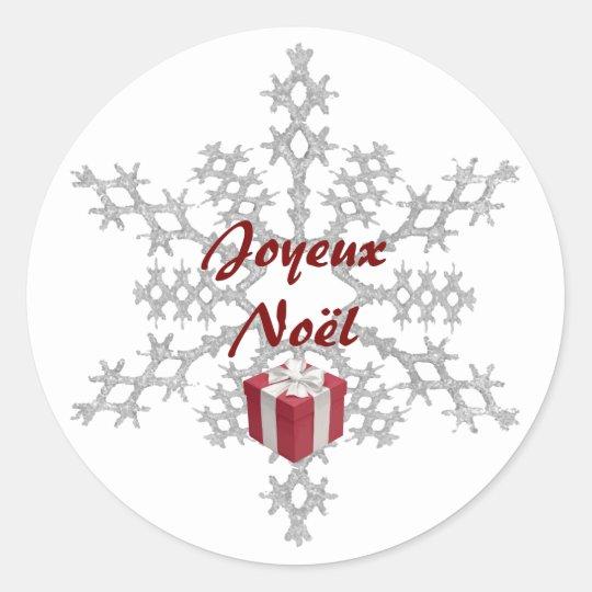 """Sticker """"Joyeux Noël"""", flocon et cadeau rouge"""