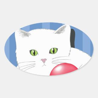 Sticker Ovale 63White Cat_rasterized