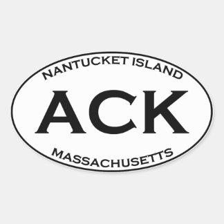 Sticker Ovale ACK - Île le Massachusetts de Nantucket