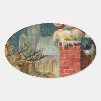 Sticker Ovale Affiche 1906 clous de Père Noël de cru original