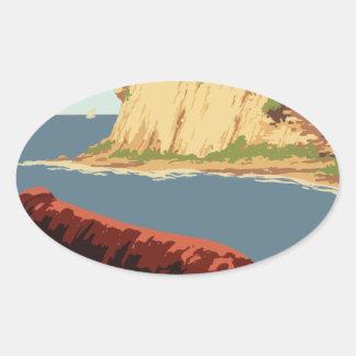 Sticker Ovale Affiche vintage Porto Rico de voyage