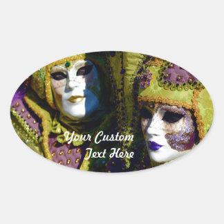 Sticker Ovale Ajouter vénitiens colorés aux masques de carnaval