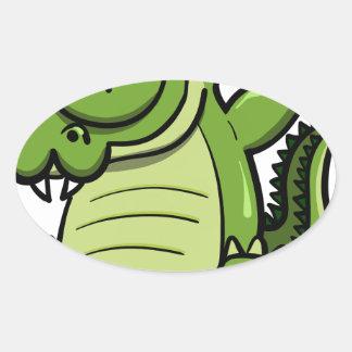 Sticker Ovale Alligator tamponnant d'animaux