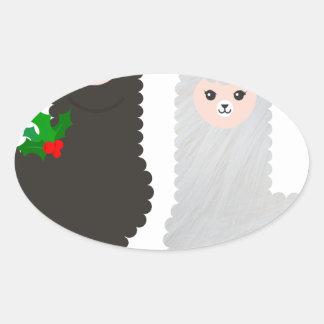 Sticker Ovale alpaga de renne de Noël