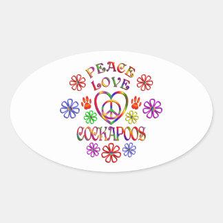Sticker Ovale Amour Cockapoos de paix
