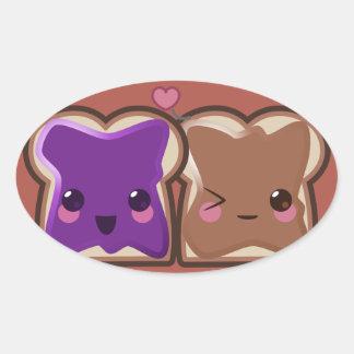 Sticker Ovale Amour de beurre et de gelée d'arachide