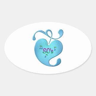 Sticker Ovale amour de la musique 80s