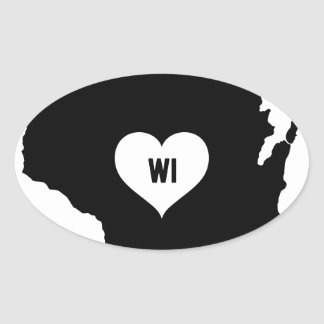 Sticker Ovale Amour du Wisconsin