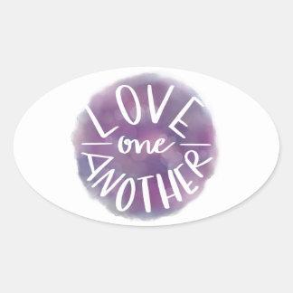 Sticker Ovale Amour Main-En lettres un un autre de Bokeh