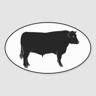 Sticker Ovale Angus noir Taureau