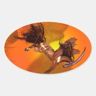 Sticker Ovale Animal sauvage à ailes de Brown de poney de cheval