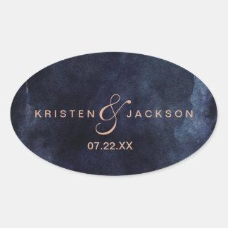 Sticker Ovale Aquarelle de bleu marine et mariage rose de