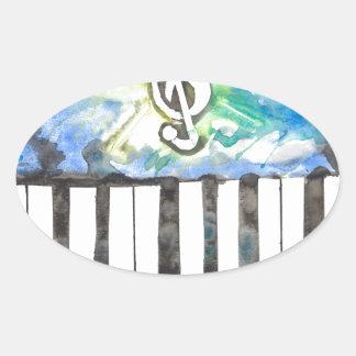 Sticker Ovale Aquarelle de piano